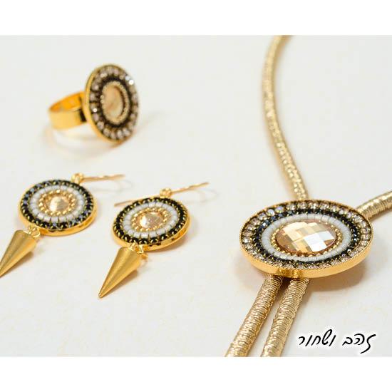 שרשרת עניבה ועגילים וטבעת מנדלה זהב ושחור