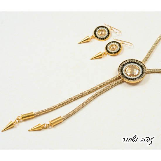 שרשרת עניבה ועגילים מנדלה זהב ובורדו