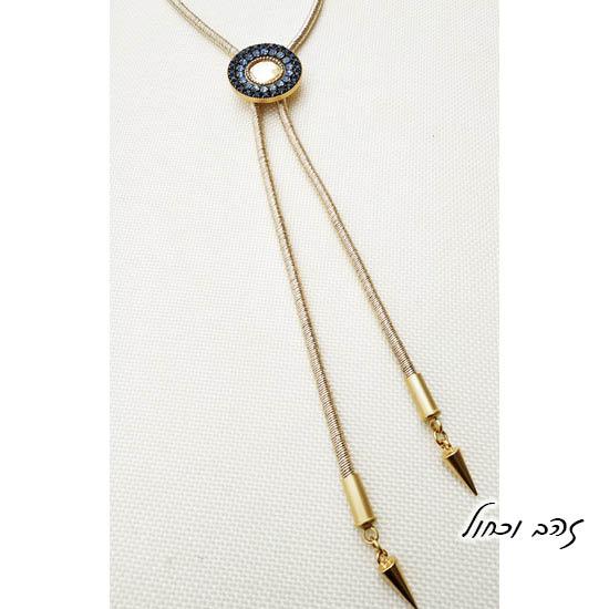 שרשרת עניבה מנדלה זהב וכחול