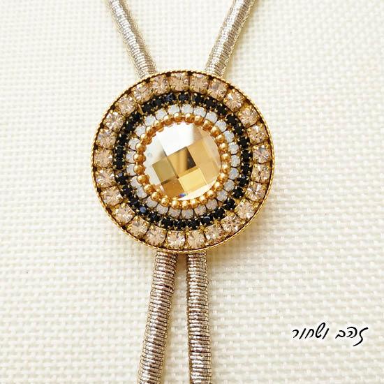 שרשרת עניבה מנדלה זהב ושחור
