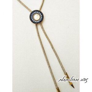 שרשרת עניבה מנדלה זהב כחול תכלת