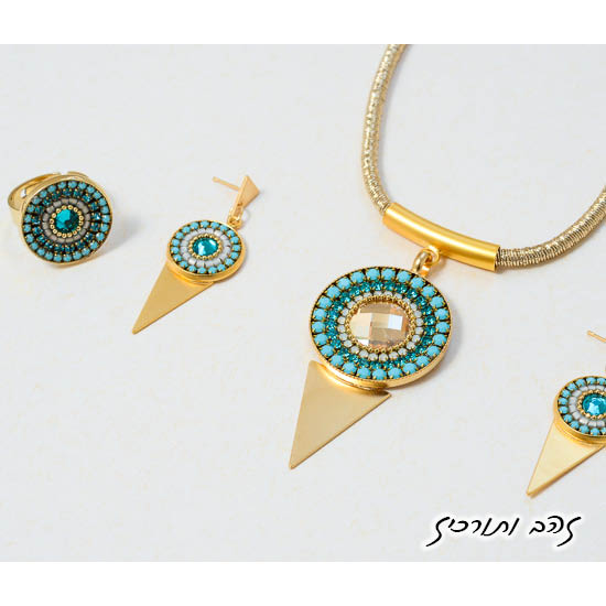שרשרת עגילים וטבעת מנדלה בזהב וטורקיז