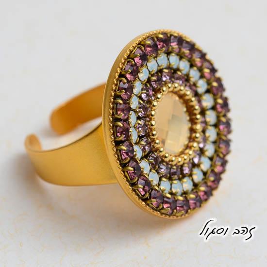 טבעת מנדלה בזהב וסגול