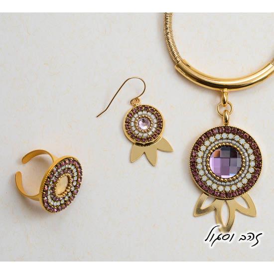 שרשרת עגילי וטבעת מנדלה בסגול וזהב