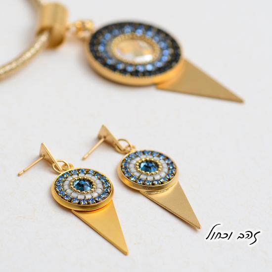 עגילים ושרשרת מנדלה זהב וכחול