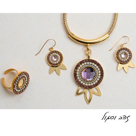 שרשרת עגילים וטבעת כתר הרימון זהב וסגול