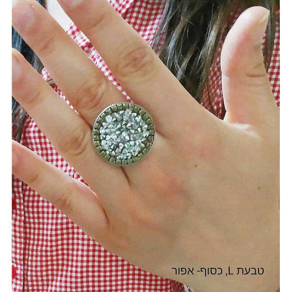 טבעת בגודל L בצבע כסף ואפור